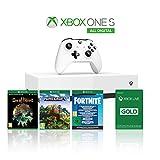 Xbox One S 1TB All Digital Edition Console + 1 Mese Xbox Live Gold + 3 Digital Games Inclusi (Sea of Thieves, Minecraft, Fortnite Legendary EvolvingSkin & 2000 V-Bucks)