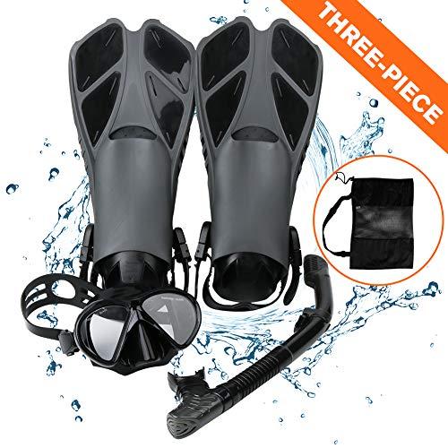 Smyidel Set di boccaglio,Set per Snorkeling e Immersioni, Maschera Subacquea + Pinne + Tubo Respiratore + Sacca da Trasporto, Unisex Kit Maschera Nuoto per Adulti Adolescenti (Nero)