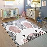 Paco Home Kinderteppich Kinderzimmer Konturenschnitt Niedlicher Hase Grau Creme Rosa, Grösse:160x230 cm