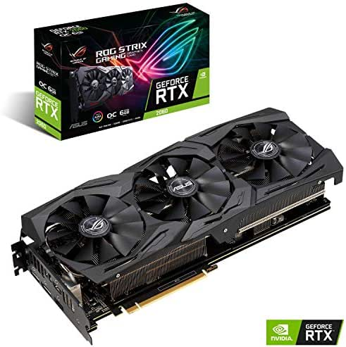 ASUS ROG STRIX NVIDIA GeForce RTX 2060 OC 6G Gaming Grafikkarte (PCIe 3.0, 8GB DDR6 Speicher, HDMI, Displayport, USB Type-C)