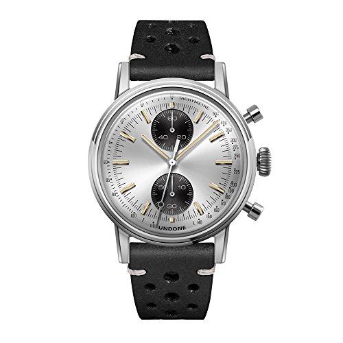 Undone'Urban Silver' Cronografo Ibrido Quarzo Meccanico Acciaio Inox Argento Pelle Nero Vintage Orologio Uomo