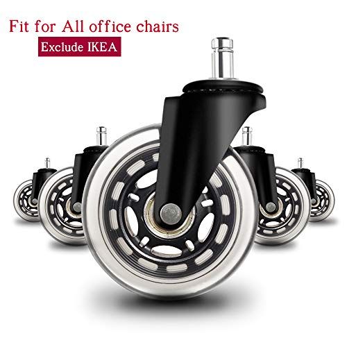 Anyke 76 Cm 75 Mm Heavy Duty Chaise Roulettes Roues Pour Meubles De Bureau Accessoires Standard Tige 11 X 22 Mm Avec Double Roulements Safe Douce