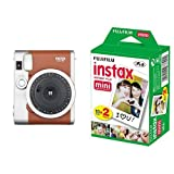 Fujifilm Instax Mini 90 Brown Fotocamera Istantanea per Stampe Formato 62 x 46 mm, Marrone/Argento + Fujifilm Instax Mini Film, 10 Pellicole Instantanea per Instax Mini 7S, Mini 25 e Mini 50S, Set 2 Pezzi