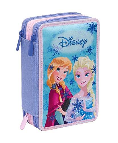 Astuccio 3 Zip Disney , FROZEN MAGIC LIGHTS , Blu , Con CONTENUTO: matite, pennarelli ...,...