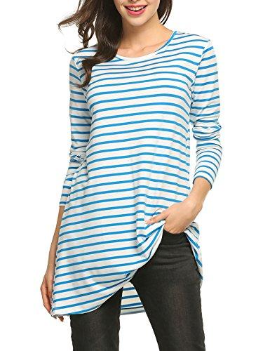 ACEVOG Damen Langarm Shirt langarm gestreiftes Shirt O-Kragen lang langarm Bluse locker gestreift Oberteil Casual Long Tunic Top