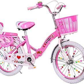 HJTLK Princess Girl'S Kids Niños Bicicleta Bicicleta Plegable Marco de Acero de Alto Carbono Doble Freno con Cesta y Asiento Trasero