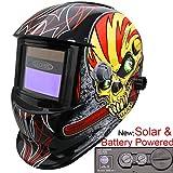 Leopard {Hammer} Solarbetrieben & Austauschbare Batterie + Auto-Abdunklung + Schleiffunktion + Große Ansicht Automatik Schweißhelm Maske