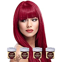 La Riche Directions Semi-Permanent Hair Colour Dye Box Of Four-Rose Red by La Riche