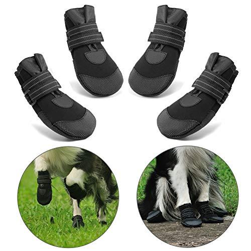 Hcpet Stivali Protettivi per Cani, 4 Pezzi Scarpine Protettive Antipioggia Antiscivolo per Cani per Piccolo a Grande Cani - Nero (1#)