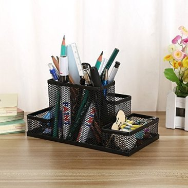 Almand New Arrival Multifuction Black Cube Metal Book Stand Mesh Style Desk Tidy Pencil Metal Pen Holder Office Home Supplies Gift 2
