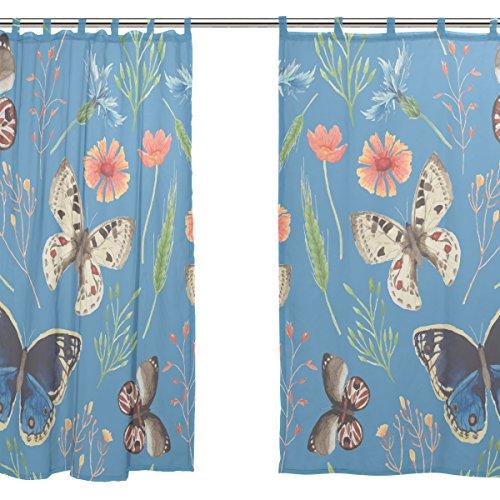 jstel 2pcs Voile cortina de ventana, Tropical, de mariposas hojas flores de tul pura cortina Drape cama 55x 78(dos paneles Set