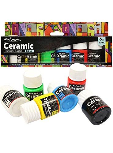 Mont Marte Set di Colori per Ceramica & Porcellana - 6 Pezzi x 20ml - Colori in Ceramica Resistenti...