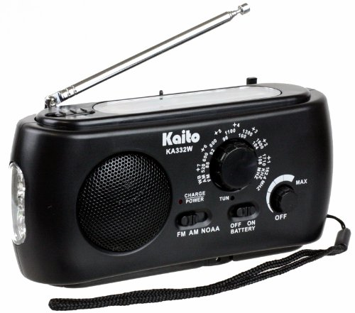 Kaito KA332W Portable Hand Crank Solar AM/FM NOAA Weather Radio with Cell Phone Charger & 3-LED Flashlight (Black)