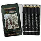 Bleistifte Graphitstifte Drawing Pen 12er Set 9B-H in praktischer Metallbox