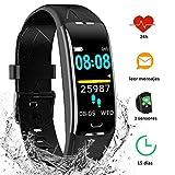 YIYOU Pulsera Actividad Inteligente Impermeable IP68, Monitor Ritmo Cardíaco y Sueño 7 Modos de Deporte, Leer Mensajes, Reloj Inteligente Deportivo para Mujer Hombre Compatible con IOS y Android
