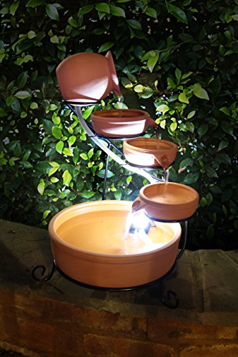 Solaray Real Terracotta Solar 4 Tier Cascade Light Brown Water Feature with Battery Backup and LED Lights.