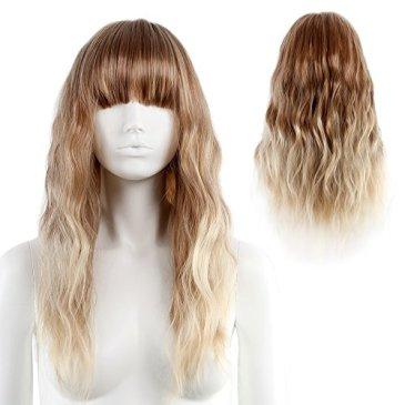 STfantasy Perruque Femme Blond Dégradé Longue Ondulé Bouclés 2 Tonalités Wig pour à porter au Quotidien Carnaval Masquerade Noël Halloween
