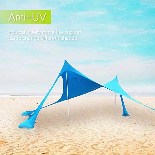 Lovebay Tenda da Spiaggia con Sabbia Anchors e Bastone - 100% lycra SunShelter Tettuccio Parasole...