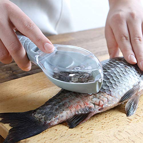 Leoie Manual Fish Scraper Fish Skin Cleaning Scraper with Storage Box Cover Durable