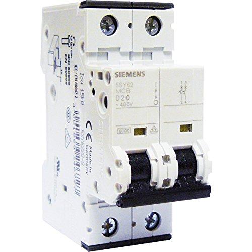 SIEMENS - Disjoncteur électrique bipolaire 20 A courbe D pour climatisation, pompe à chaleur et pompe de relevage