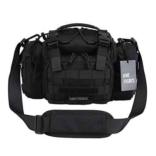 OneTigris MOLLE Taktische Schultertasche Hüfttasche Kompakte Tragetasche mit Schultergurt, Verbesserte Version (Schwarz-Version 2)