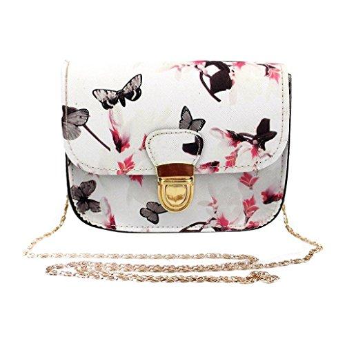 Holacha Bolsos Bandolera Moda, Bolsa de hombro Cross-body Casual Patron de Mariposa Flor para Mujeres (blanco)