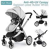Hot Mom Multi Kinderwagen Kombikinderwagen 2 in 1 mit Buggy 2018 neues Design, Babyschale separat erhältlich - Grey