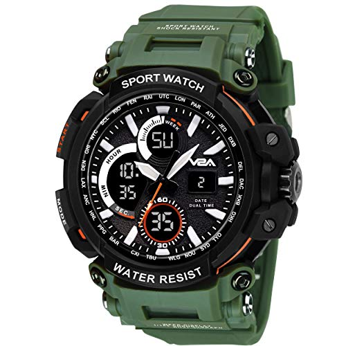 V2A Big Dial Green Outdoor Sport Shockproof Led Analogue and Digital Waterproof Chronograph Watch for Men