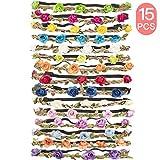 Yidaxing 15 Pezzi Multicolore Ghirlande Fasce del Fiori con Nastro Elastico Regolabile per Le Ragazze/Copricapo da Sposa