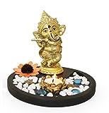 Tied Ribbons Golden Ganesha Playing Bansuri Ganesh Idol for Gift