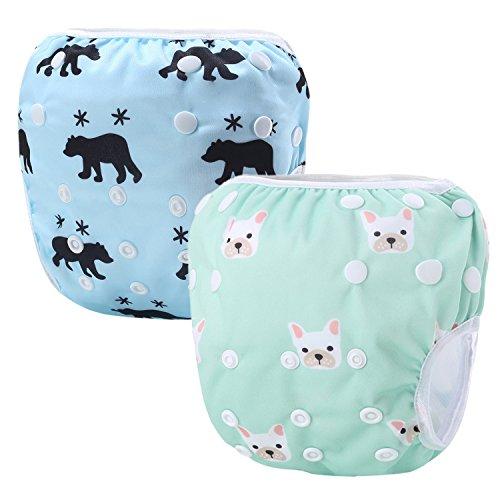 Storeofbaby Pannolini di stoffa riutilizzabili per neonati Pannolini per il nuoto Regolabili 0-3 anni Confezione da 2