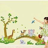 ufengke Árbol Verde Lindo el Conejo del León Jirafa Elefante Cruzar el Puente Pegatinas de Pared, Vivero Habitación de Los Niños Removible Etiquetas de La Pared / Murales