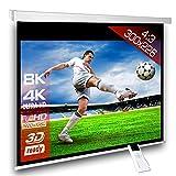 Écran de projection motorisé 300 x 225 cm SlenderLine Plus, Format 4:3 FULL-HD 3D 4K 8K, Écran de projection électrique pour vidéoprojecteur, Home Cinema, pour Mur ou Plafond, avec Télécommande