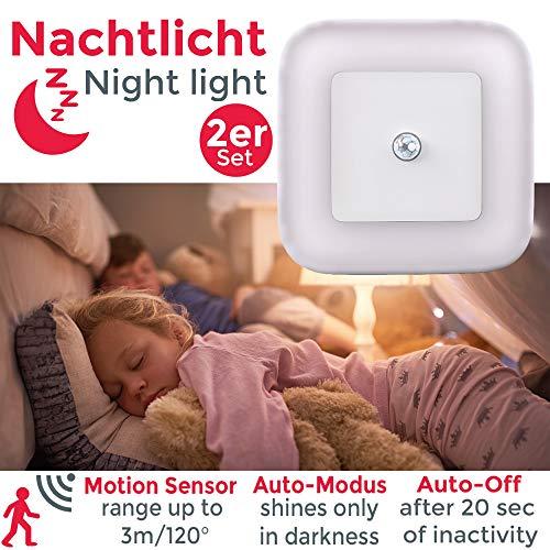 Luce Notturna LED bambini, set di 2, Lampada da notte con Sensore di movimento, si accende...