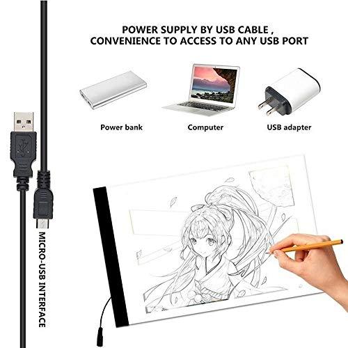 QYWSJ A4 Lightbox Disegno, Lavagna Luminosa USB Powered LED Copy Board, Tracing Light Box Track...