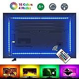 LE Striscia LED RGB 2m 5050 SMD, Striscia Luminosa USB Alimentata Retroilluminazione TV con Telecomando Wireless RF, 16 Colori Dimmerabile per Monitor PC TV da 32-65 pollici (4 Strisce LED da 50 cm)