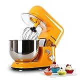 Klarstein Bella Orangina Küchenmaschine Rührgerät (1200 Watt, 5,2 Liter-Rührschüssel, 6-stufige Geschwindigkeit) orange