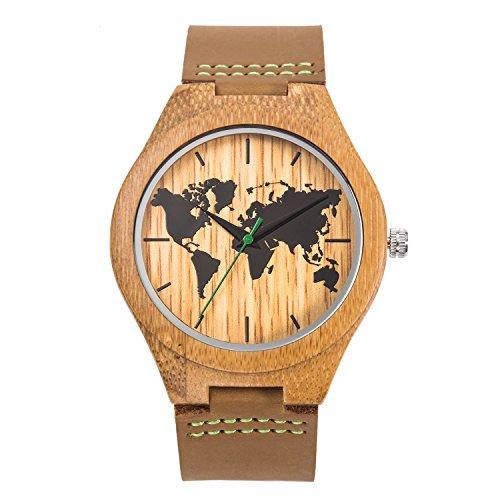 Sentai Orologio di legno di mondo del mondo degli uomini, legno naturale di bambù fatto a mano,...