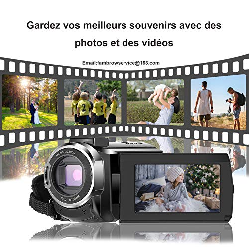 Caméscope 4K,FamBrow Caméra Vidéo WiFi 48MP IR Vision de Nuit 16 x Digital Zoom,Camescope Numerique 270 Degrés Rotatif Écran Tactile Camera ... 23