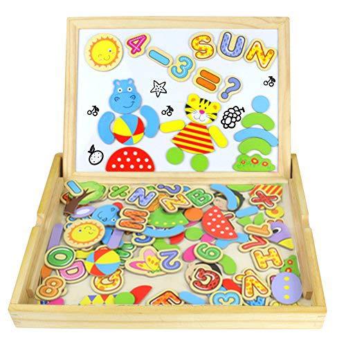 Puzzle Magnetico Legno Giocattolo di Legno Bambini con Double Face Magnetica Lavagna Legno 90 pcs...