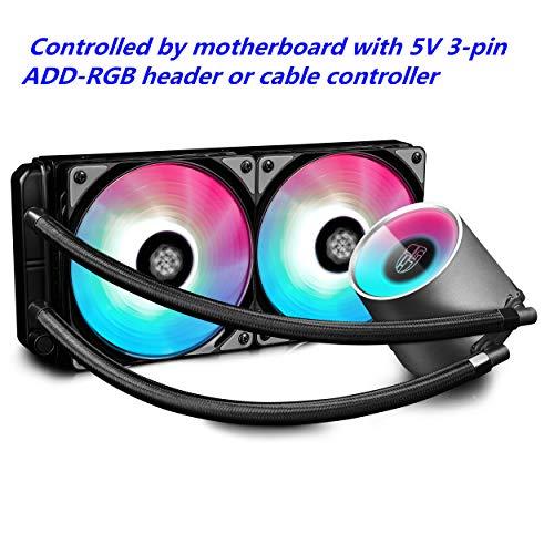 DeepCool Castle 240 RGB Sistema di Raffreddamento a Liquido, Radiatore da 240 mm, Due Ventole PWM da...