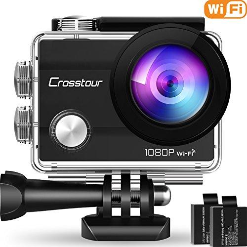 """Action Cam Crosstour Sport WIFI Fotocamera Subacque 1080P Full HD 2""""LCD 2 Batterie 1050mAh 170°Grandangolare e Kit Accessori per Ciclismo Nuoto e altri Sport Esterni"""