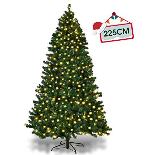 Goplus Albero di Natale Verde Automatico con Luci LED PVC Supporto in Metallo 210-240cm Luci Bianco Caldo (225)