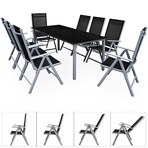 Alu Sitzgruppe 8+1 Sitzgarnitur Gartengarnitur Tischplatte aus Glas + klappbare und neigbare Stühle