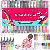 GirlZone Regalo Ragazza - Set di Penne Gel Colorate - 30 Penne Glitter Astuccio con Penne Brillantinate con Pennarelli Gel Glitterati Penne Fluo-Colorate