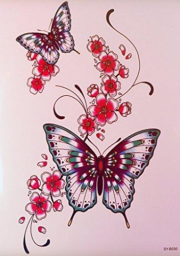 bunte farbige tattoo schmetterlinge blumen fake tattoos b030 schmuck tattoo kleber f r k rper. Black Bedroom Furniture Sets. Home Design Ideas