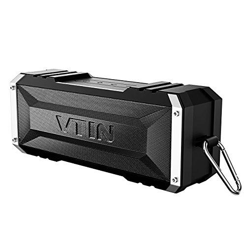 VTIN Bluetooth Lautsprecher, 25-Stunden-Akkulaufzeit und 20W Dual-Treiber Drahtloser Speaker Musikbox mit tiefem Bass und eingebautem Mikrofon für IOS und Android Geräte (Schwarz)