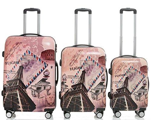 Reisekoffer 2060 Hartschalen Trolley Kofferset in 12 Motiven SET--XL-L--M-- Beutycase (Tower, 3er Set(XL+L+M)) - 2