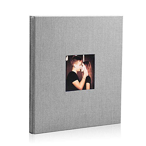Womdee Self Adhesive Photo 26 x 27 cm Album Linen Magnetic Scrapbook-Valentines Day Guest Book, DIY Anniversary Travel Memory Scrapbooking-40 Page