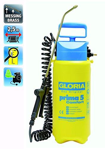 Gloria pulverizador de presión prima 5 Comfort con manguera en espiral y conexión del compresor, amarillo